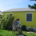 Liz (left) and her son outside their Key West home.