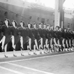 """""""Ready to board ship for USO performances""""  From web site: Vintage every-day: A Look Back at The Rockettes over 85 years."""