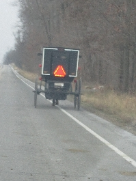 Following an Amish buggy near Goshen, IN.