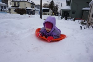 Our front yard has become a sledding hill.