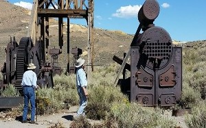 Thayer and Simon explore the twin two-man mine elevators, steam winch and boiler.