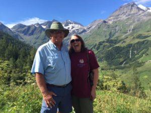 Bill and Linda in Austria, Alps in distance