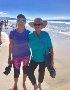 "Liz (left) in her ""Happy Place,"" Torrey Pines, with friend, Trish"