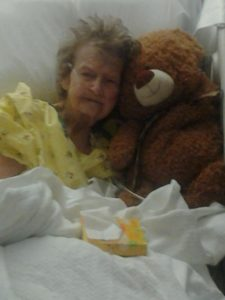 Hospital stay: day two. Auntie Alma with her great-granddaughter's teddy bear.