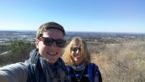 Liz, right, and her younger son on P Mountain